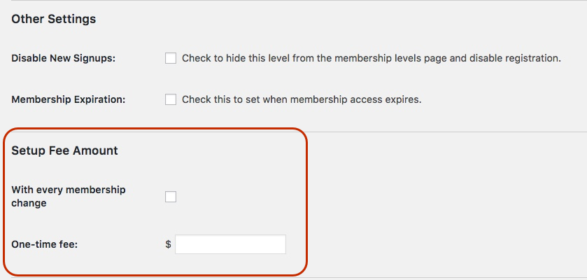 Configure the Setup Fee for a PMPro Membership Level